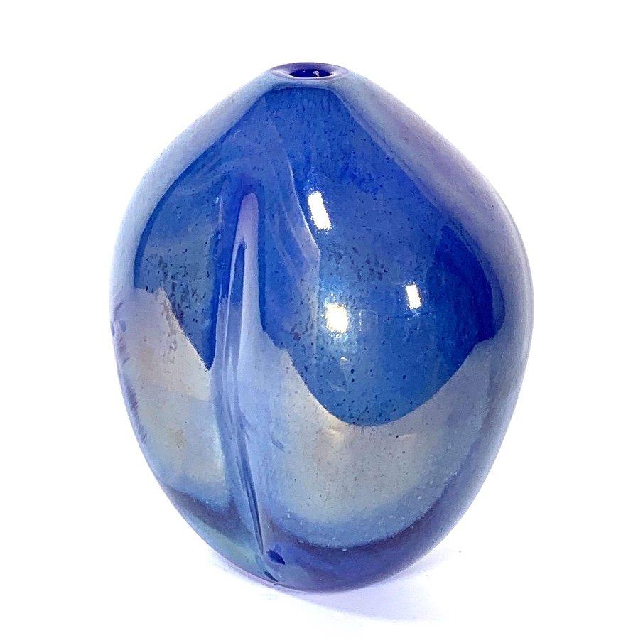 Seed Vase Blue Lustre, Handblown Glass by Adam Aaronson
