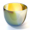 Topaz Beachcomber Medium Bowl Handblown Glass by Adam Aaronson