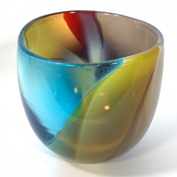 Turquoise Beachcomber Medium Bowl Handblown Glass by Adam Aaronson