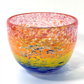 Wide Rainbow Bowl Handblown Glass by Adam Aaronson