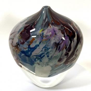 Grey Blue Rhapsody Vase Handblown glass by Adam Aaronson