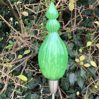 Spring Green Triple Pod Handblown Garden Sculpture by Adam Aaronson